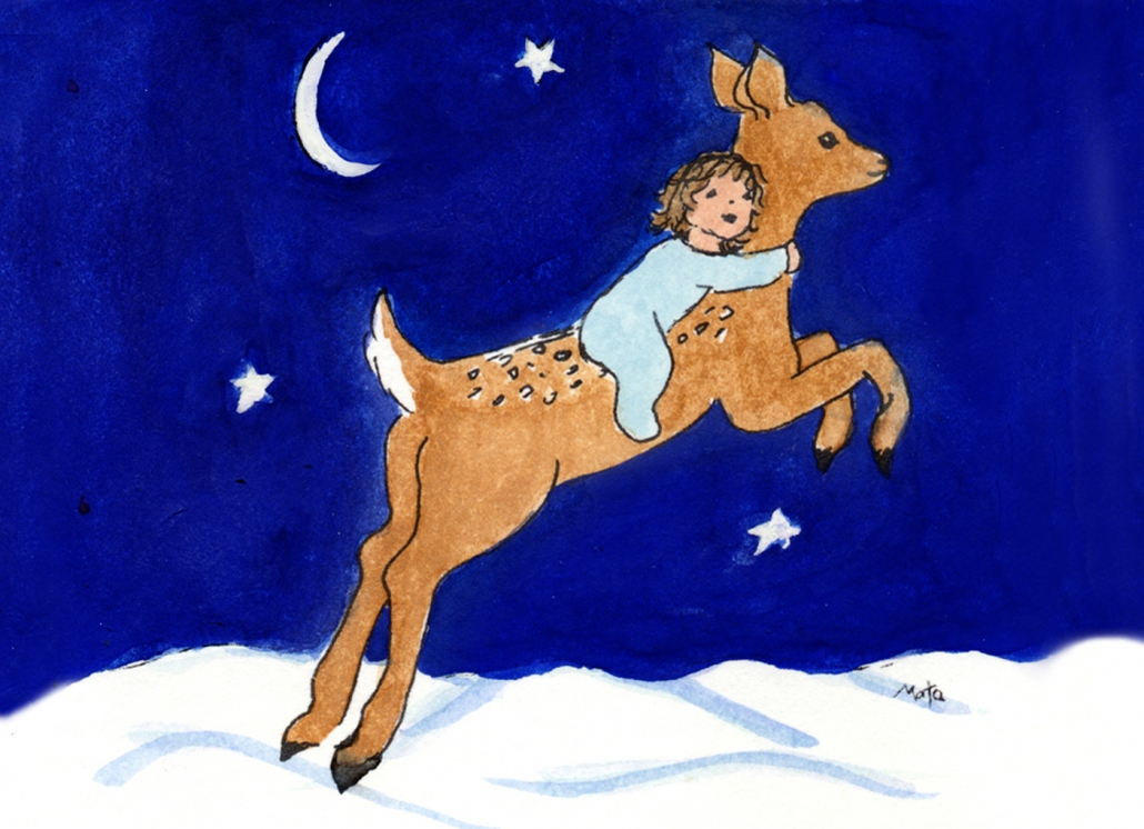 GE12 Flying Fawn Greeting Card by Martha Sperry