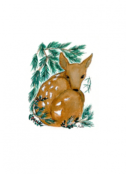 GE14 Nestled Fawn Greeting Card by Martha Sperry