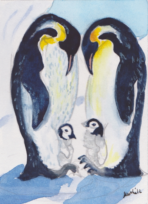 GE17 Penguins Greeting Card by Martha Sperry