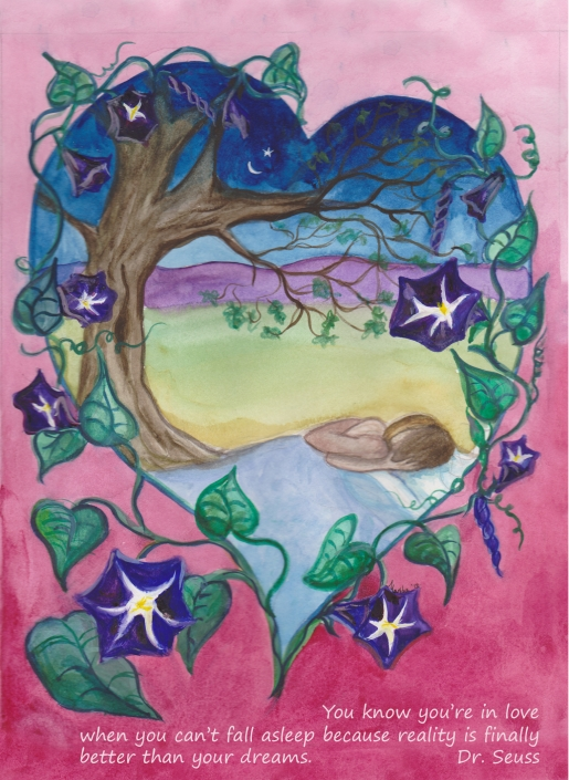 HC17 Morning Glory Heart Card by Martha Sperry