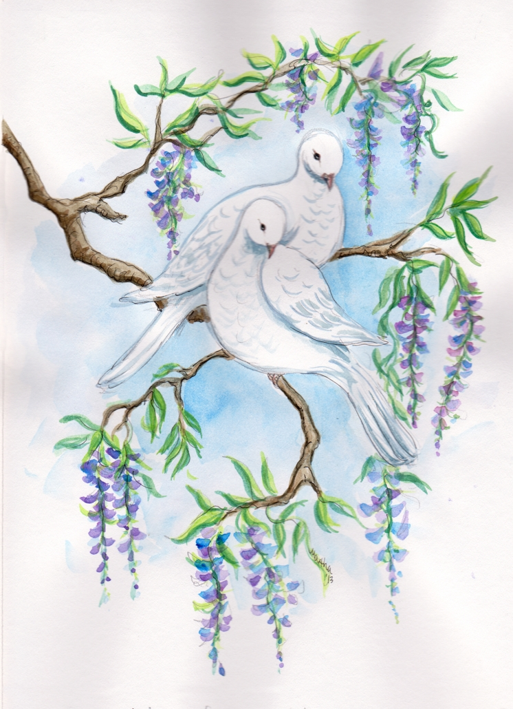 HC9 Doves Heart Card by Martha Sperry