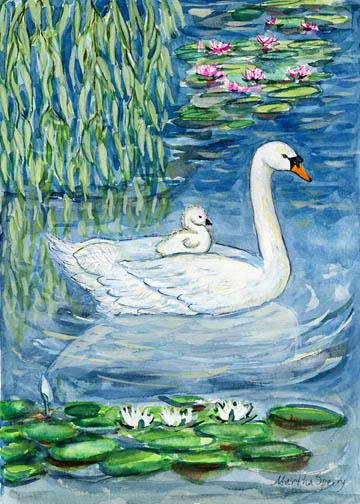 GC13 Mother Swan Greeting Card by Martha Sperry