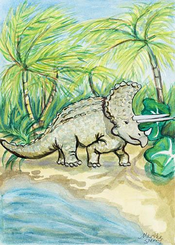 GC15 Triceratops Greeting Card by Martha Sperry