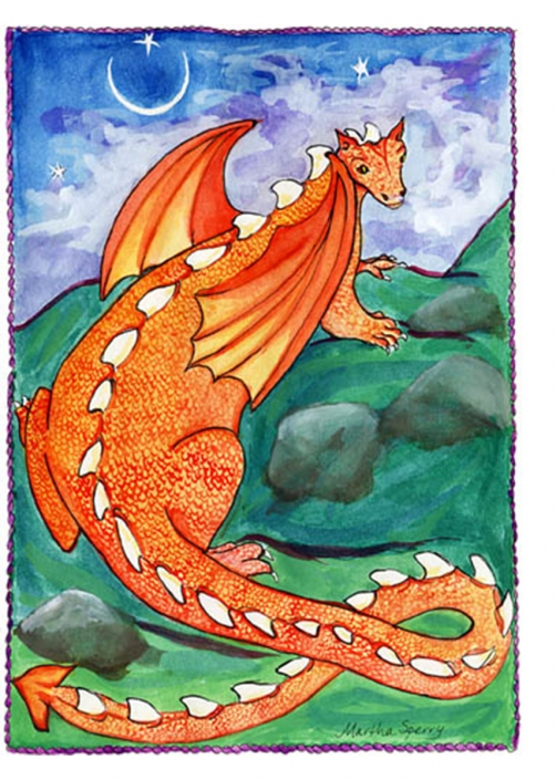 GC2 Red Dragon Greeting Card by Martha Sperry