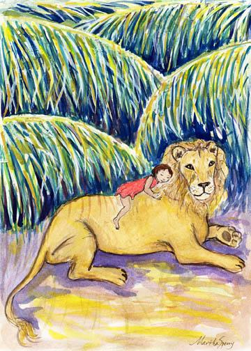 GC6 Lion with Rider Greeting Card by Martha Sperry
