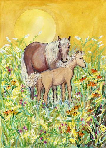 GC9 Mare and Foal Greeting Card by Martha Sperry